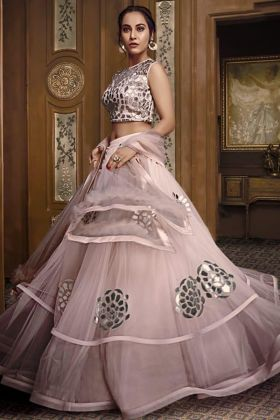 Stylish Look With Pink Lehenga In Embroidery Work