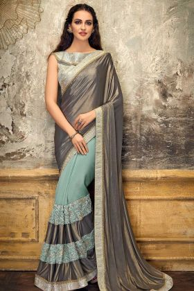 Stylish Lycra And Tissue Grey Color Fancy Saree