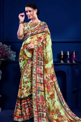 Stylish Multi Color Printed Saree With Fancy Blouse