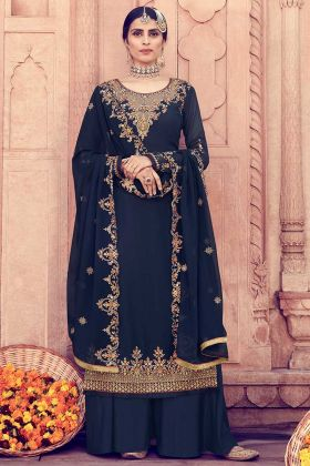 Stylish Navy Blue Color Georgette Palazzo Suit In Lace Border