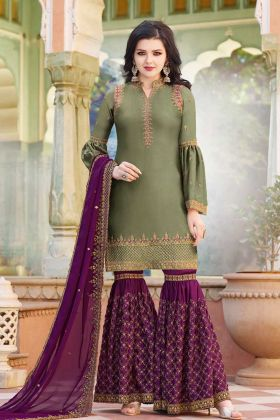 Stylish Olive Green Resham Embroidery Satin Sharara Salwar Suit