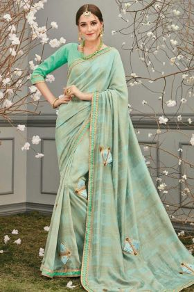 Stylish Pista Color Silky Party Wear Saree