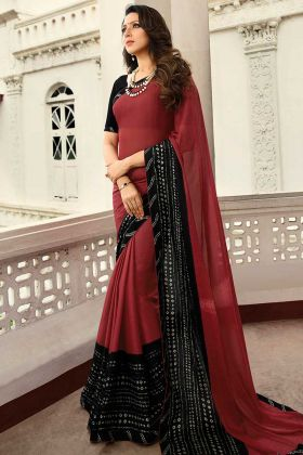 Stylish Printed Daily Wear Saree In Maroon Color