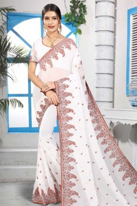 Stylish White Color Embroidery Work Georgette Saree