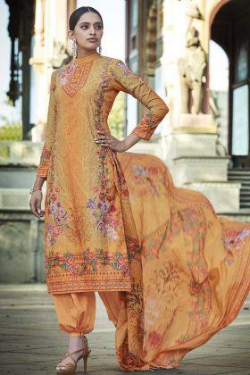 Stylist Digital Printed Orange Color Cotton Palazzo Suit