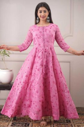 Stylist Hit Pure Chanderi Pink Color Full Flair Kurti
