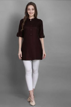 Summer Brown Readymade Short Tunic Kurti