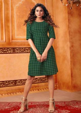 Summer Dark Green Readymade Short Tunic Kurti