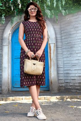 Summer Purple Printed Rayon Short Western Kurti Collection 2021