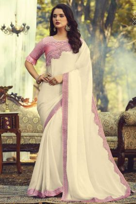 Sunlight Silk Cream Party Wear Saree With Fancy Pink Heavy Border