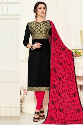 Super Hit Black Colored Banarasi Silk Ladies Salwar Suit Material