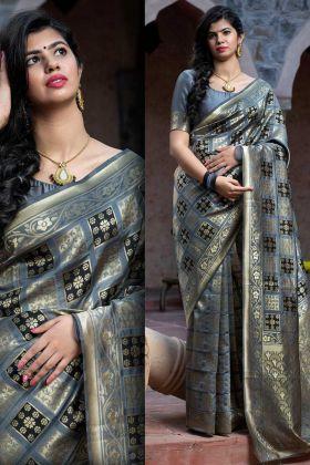Super Hit Designer Banarasi Weaving Silk Grey Color Saree