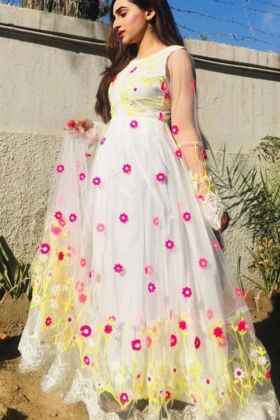 Super Hit Designer Butterfly Net With Embroidered White Colored Anarkali Salwar Dress For Wedding