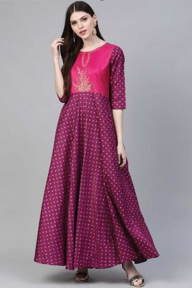 Super Hit Designer Purple Printed Kurti In Poly Silk