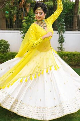 Super Hit Designer Real Mirror Hand Worked Heavy Rayon White And Yellow Color Lehenga Choli
