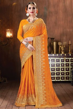 Super Hit Launching Yellow Color Heavy Georgette Saree