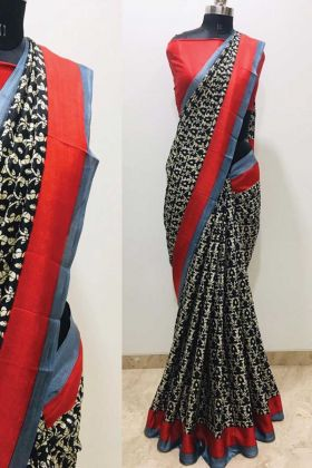 Super Hit Printed Black Color Malgudi Silk Saree