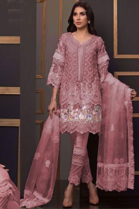 Superhit Design Designer Pink Color Net Pakistani Suit for EID with Santoon Bottom Fabric with Heavy Embroidery Work