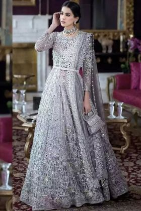 Super Hit Design Gray Heavy Embroidery Work Net Pakistani Suit with Heavy Santoon Bottom