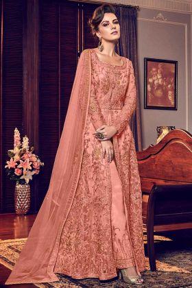 Swagat Embroidered Work Peach Soft Net Designer Salwar Suit