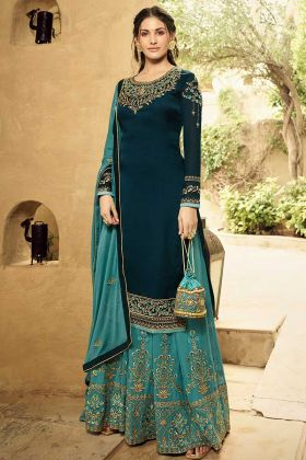 Swarovski Diamond Work Teal Blue Color Satin Georgette Sharara Dress