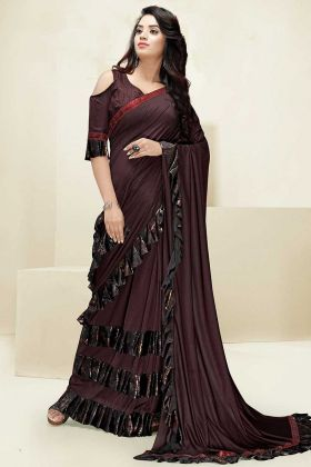 Swarovski Work Brown Color Imported Fabric Ruffle Saree