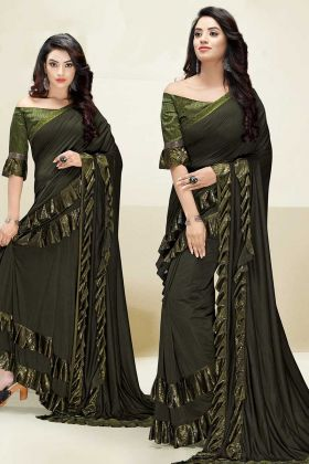 Swarovski Work Mehendi Green Color Imported Fabric Stylish Ruffle Saree