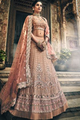 Swarovski Work Rose Taupe Color Georgette Wedding Lehenga Choli