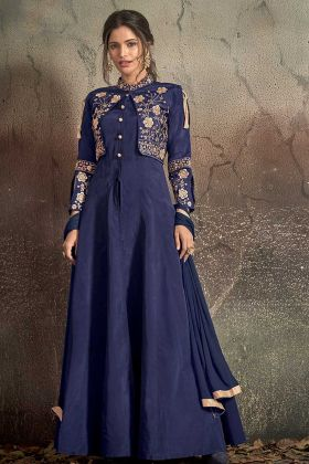 Tafeta Art Silk Navy Blue Wedding Gown