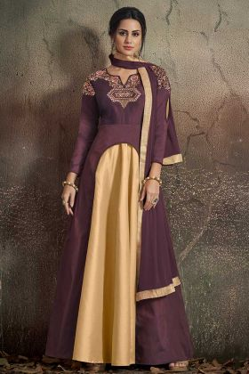 Tafeta Art Silk Wine and Beige Wedding Gown