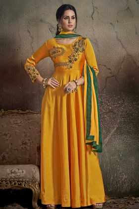 Tafeta Art Silk Yellow Wedding Gown