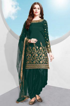 Taffeta Silk Patiala Dress Teal Green Color With Jari Embroidery Work