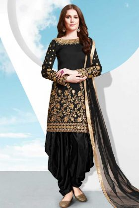 Taffeta Silk Patiala Salwar Suit Black Color With Jari Embroidery Work