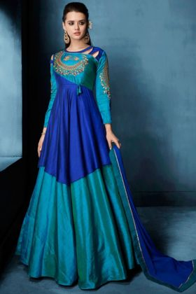 Tafeta Silk With Heavy Embroidered Anarkali Salwar Suit
