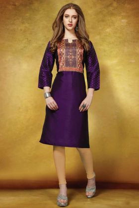 Taffeta Art Silk Casual Purple Kurti