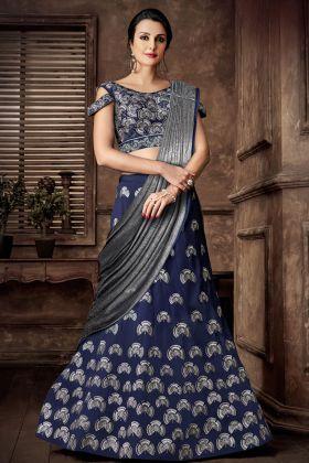 Taffeta Art Silk Blue Embroidered Lehenga