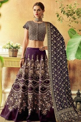 Taffeta Purple Color Lehenga Choli