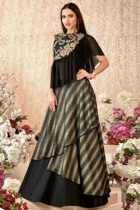Taffeta Silk Black Color Reception Lehenga Choli