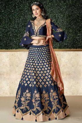 Taffeta Silk Designer Lehenga Choli Blue Color With Net Dupatta