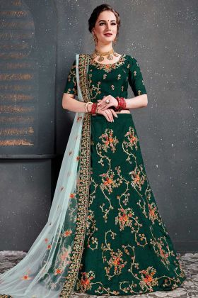 Taffeta Silk Green Color Designer Lehenga Choli In Thread Work