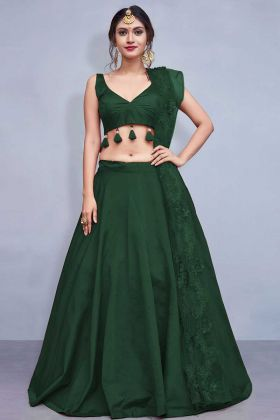 Taffeta Silk Lehenga Choli Green Color With Soft Net Dupatta