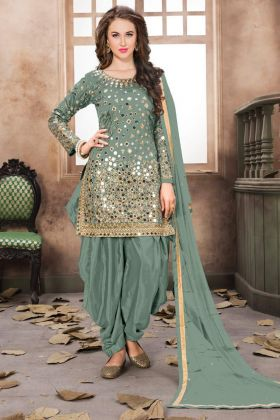 Taffeta Silk Punjabi Dress Design Light Green Color