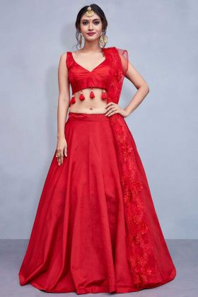 Taffeta Silk Red Designer Lehenga With Tassels Work