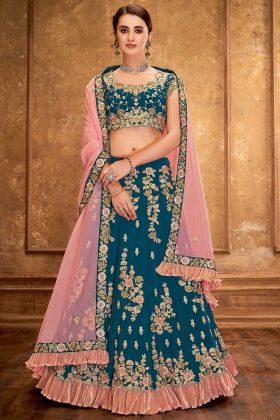 Taffeta Silk Teal Green Designer Trending Lehengas For Party
