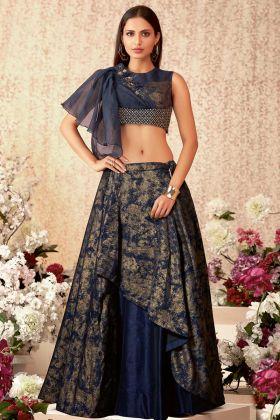 Taffeta Silk Wedding Lehenga Choli Navy Blue Color