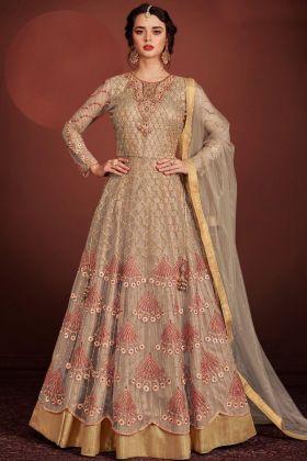 Tan Butterfly Net Gown Style Salwar Suit