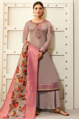 Tan Embroidered Satin Georgette Palazzo Suit Semi-stitched