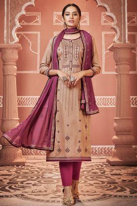 Tan Jam Cotton Silk Pant Style Salwar Kameez