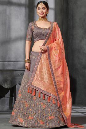 Tan Silk Wedding Lehenga Choli