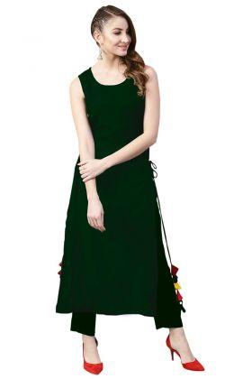 Tassel Work Dark Green Color Rayon Designer Kurti